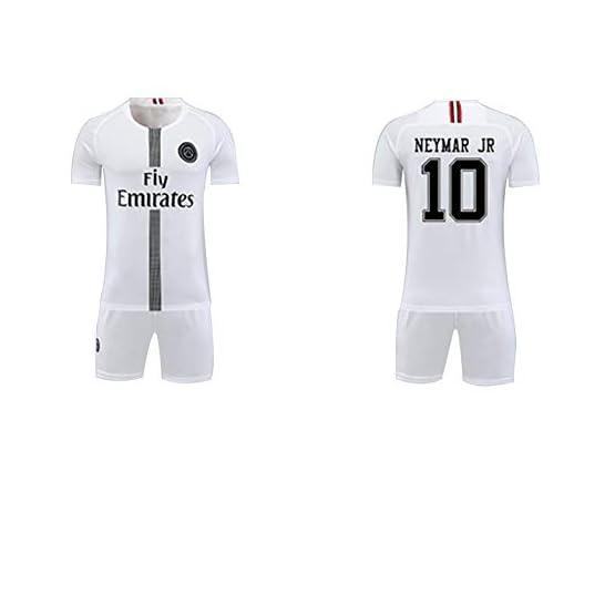 Paris Neymar JR 10# Maillot et Short de Foot à Domicile pour Enfants/Adolescents, Vêtements de Costume pour Hommes Vêtements de Sport-White-S