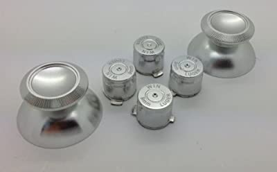 Metal Silver Bullet Buttons + Thumbsticks For Dual Shock 4 PS4 Controller Mod Kit by e-Mods