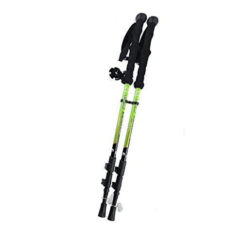 Travelsky Trekking Poles,Ultralight Double Locking,7075 Aluminum Alloy,Travel Hiking /Climbing Poles with Anti-Shock & Quick Lock Technology,Walking\running, 2-Pack (green)