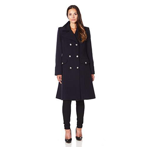 De La Creme Black Women`s Military Cashmere Wool Winter Coat Size 20