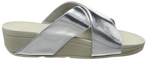 Women Open Mirror Cross Fitflop Mirror Toe Sandals Slide Silver Lulu Silver HOwCqS