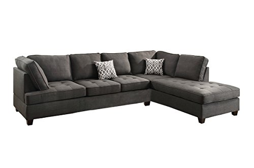 Poundex Bobkona Kemen Linen-Like Polyfabric Left or Right Chaise 2Piece SECTIONAL in Ash Grey (Linen Chaise)