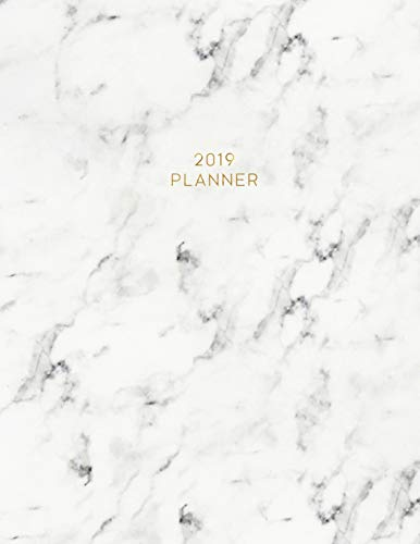 2019 Planner: Weekly and Monthly Planner Calendar Organizer Agenda (January 2019 to December 2019) Simple White Marble