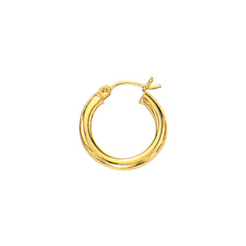14k Yellow Gold 2x15mm Polish Round Tube Hoop Fancy Earring Deana Dean Children Collection