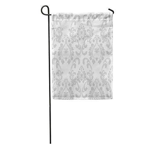 zhurunshangmaoGYS Garden Flag Asian Damask Floral and Authentic Book Border Flower Luxury Mystic Home Yard House Decor Barnner Outdoor Stand 12x18 Inches Flag ()
