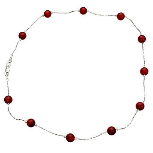 - Joyful Creations Red Bamboo Coral Beads Station Tin Cup Sterling Silver Chain Necklace, 16