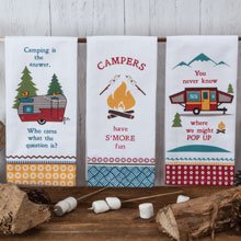 3 Camping Kitchen Tea Towels Set - 18 in. by 28 in. with loop for hanging (Loop Fun)