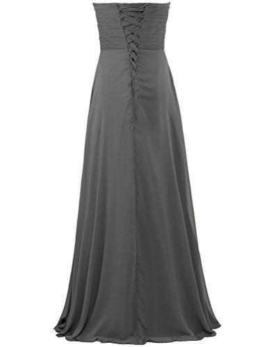 Les Robes De Demoiselle D'honneur En Mousseline De Soie Chérie Gris Robe Longue Partie De Fourmis Femmes