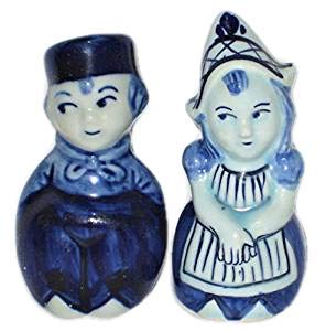 - Delft Style Porcelain Dutch Couple 3 Inch Salt & Pepper Shakers