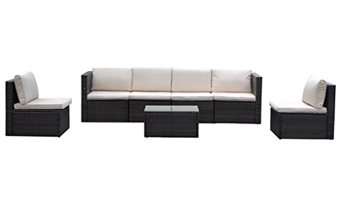 Outdoor And Indoor Garden Patio Sofa Set 7PCS Reconfigurable Stylish And Modern Style With Seat Cushion And Back Pillow