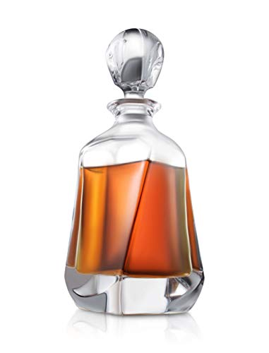 Aurora Whiskey Decanter - 25 oz Crystal Modern Decanter - Non-Lead Small Liquor Decanter with Stopper - Booze Decanter for Whiskey, Bourbon, Brandy, Liquor, and Rum - Scotch Bar Container (Tall Crystal Decanter)