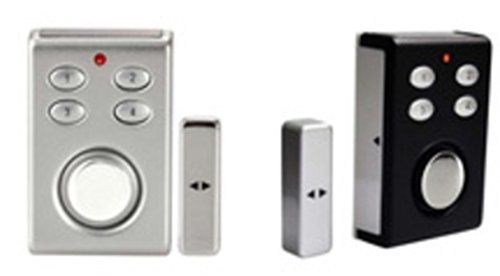 Solar / Battery Window / Door Alarm with Keypad Triggered by Magnetic Strip Separation or Vibration Sets It Off (Silver)