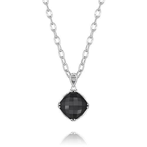 Tacori SN12819 Classic Rock Sterling Silver Cushion Cut Black Onyx Pendant Necklace, 18
