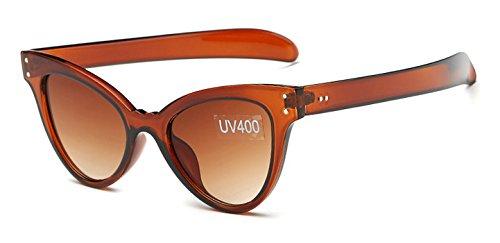 de Gafas vendimia verano de sol gafas marca Hykis sombras de del sol la del de marco mujer oculos Brown gafas la de ojo de femeninas Gafas estilo gato transparente del manera qxzzSZ5p
