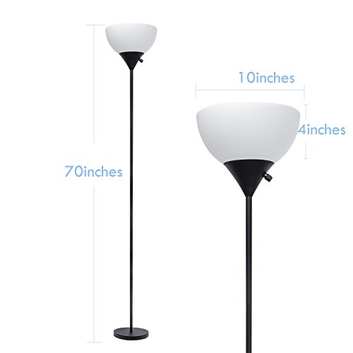 SUNLLIPE LED Torchiere Floor Lamp 70 inches Sturdy Standing 9W Warm Light Uplight with Plastic Shade (Black) by sunllipe (Image #2)