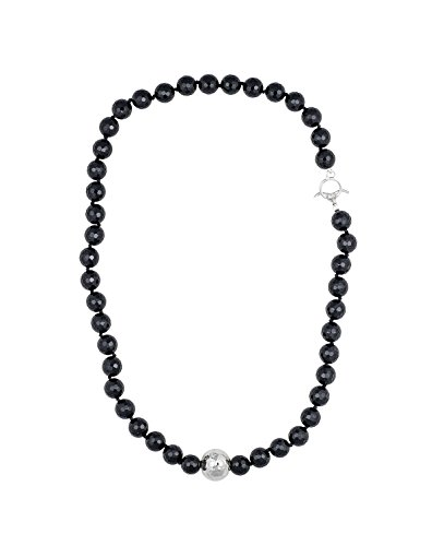 Simon Sebbag Round Faceted Onyx Bead Necklace with Silver Bead