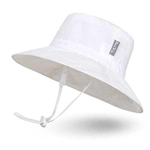 - Ami&Li tots Super Lightweight Child Adjustable Ultrathin Sunhat for Baby Girl Boy Kids Toddler UPF 50 - L: White