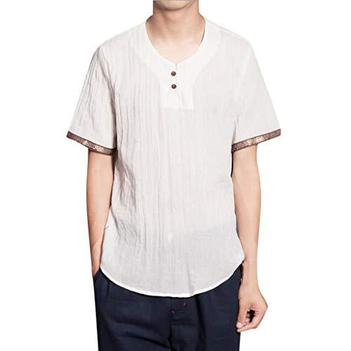 Men's Tops Baggy Cotton Linen 3/4 Blouse Sleeve