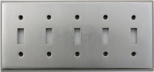 Classic Accents Stamped Steel Satin Nickel Five Gang Toggle Light Switch Wall Plate