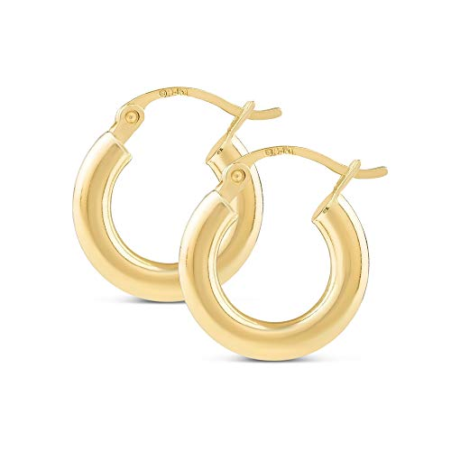 14k Yellow Gold Classic Shiny Polished Round Hoop Earrings for Women, 3mm tube (14kt Gold Hoops)