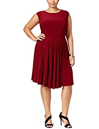 f9936c63bb3 Womens Plus Size Pleated Fit   Flare Dress (Burgundy