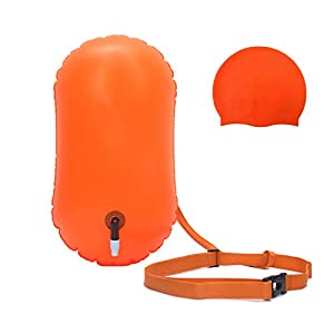 OpenVerse Swim Buoy for Open Water with Swim Cap for Open Water Swimmers Triathletes Snorkeling – Inflatable Swim Buoy…