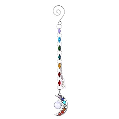 H&D Half-moon Chakra Suncatcher Crystal Prisms Handmade Pendulum Pendants 20mm: Home Improvement