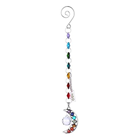 H&D Half-moon Chakra Suncatcher Crystal Prisms Handmade Rainbow Ball Pendulum Pendants 20mm (Crystal Suncatcher Chakra)