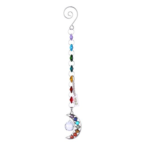 H&D Half-Moon Chakra Suncatcher Crystal Prisms Handmade Pendulum Pendants 20mm