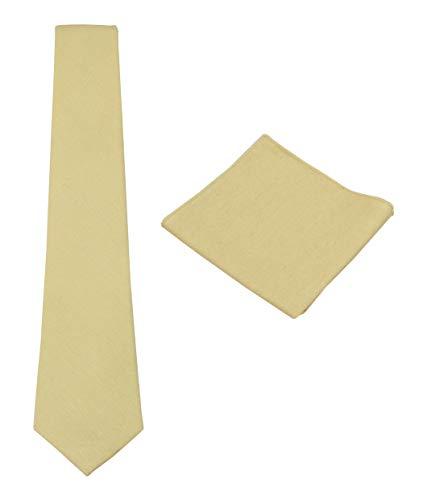 Mens Solid Linen Tie Set : Necktie
