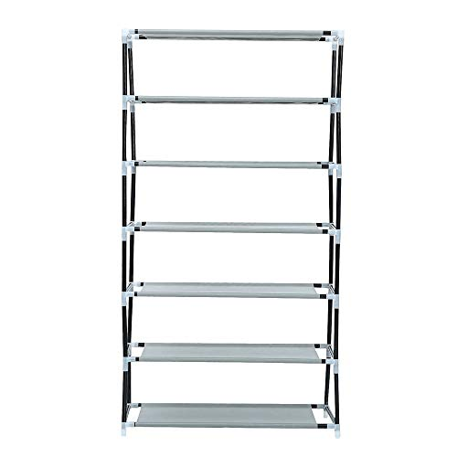 7 Tiers Free Standing Shoe Rack with Non-Woven Fabric | Genuine store 7 Layers DIY Shoe Organizer Portable Shoe Tower Storage Organizer Cabinet - Easy to Assemble ()