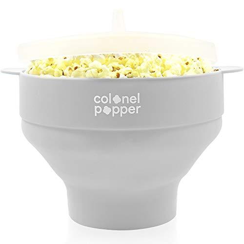 Colonel Popper Microwave Popcorn Popper Maker Hot Air Popcorn Bowl (Gray)