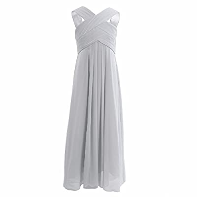 FEESHOW Junior Big Girls Criss Cross Chiffon Bridesmaid Dress Wedding Party Ball Prom Long Gowns