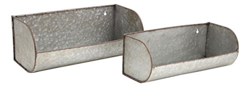 Park Hill Set of Galvanized Metal Wall Mounted Trough Planters in 2 Sizes