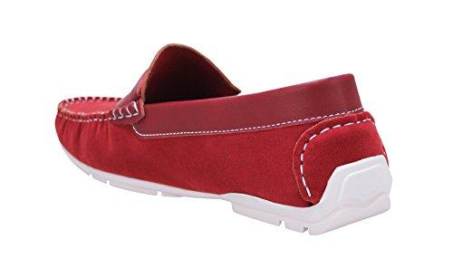 Scarpe mocassini uomo class rosso casual slip on scamosciati