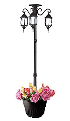 PierSurplus 3-Head LED Solar Lamp Post Light with Planter for Outdoor and Yard - 6.7 ft (80 in) Black