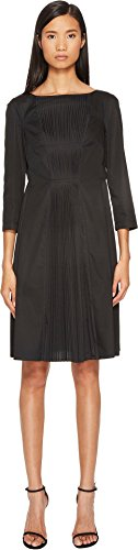 - Jil Sander Navy Women's Boat Neck 3/4 Sleeve Dress With Pleated Skirt Black 34