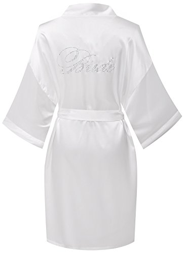goodmansam Women's Wedding Short Kimono Robes for Bride Bridesmaid Maid of Honor