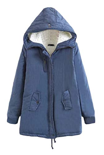 Tasca Blu Lungo Caldo Mogogo Cappotto Giacca Jeans Di Zip A Solido Cappuccio Donne Con Velluto Metà SqZR5A