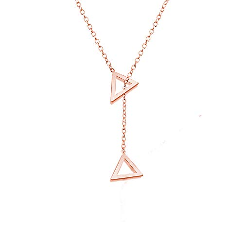 Inverted Pendant Stone (Geometric Inverted Triangle Pendant Necklace - Minimalism Hollowed-Out Inverted Triangle Round Pendant Jewelry for Women (Rose Gold))