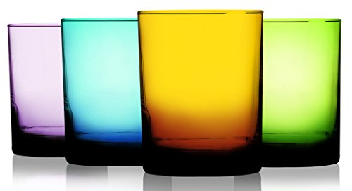 Attractive Set of Four (4) Unique Colored Aristocrat Double Old Fashioned Glasses 14 oz. - Party Drinking Glassware ()