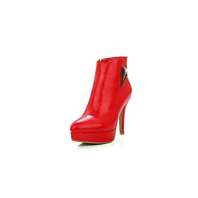 Lvyuan-ggx Da Donna Tacchi Comoda Pu poliuretano Primavera Casual Bianco Nero Rosso Piatto Ruby Us5 5 Eu36 Uk3 5 Cn35