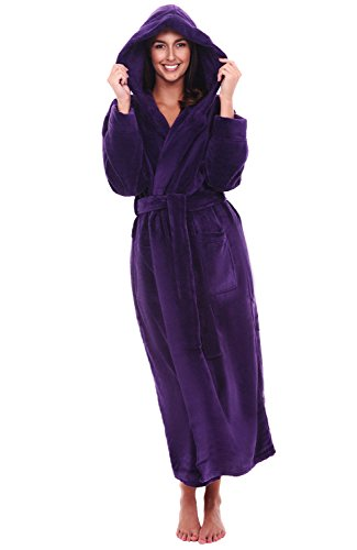 Alexander Del Rossa Womens Plush Fleece Robe with Hood, Small Medium Purple (A0116PURMD)
