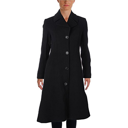 Anne Klein Womens Wool Long Pea Coat Black 4 - Anne Klein Cashmere