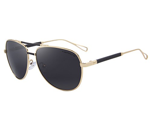 MERRY'S Men's Polarized Aviation Sunglasses Classic Driver Sun glasses S8718 (Gold, - Sunglasses Official Aviator