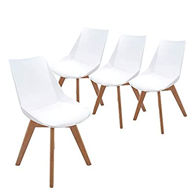 Aosun Upholstered Dining Chairs Set of 4 Mid Century Chairs with Natural Wood Legs Sturdy Intdoor Lounge Chair for Living Bedding Kitchen Room (4 Piece, White - New Design for Dining Chairs:Perfect height,patent design of the chair back make the chair seat widder,which provide you more support. Features:the seat is covered with PU leather and filled with sponge to give you a softer and more comfortable touch.With durable wooden legs,new ergonomic design for the top of the chair,four pieces in one carton.the kitchen chair is light weight,solid color,wihch bring a modern retro sense to your kitchen. Mid Century Modern Style Chair,Ideal for home and office use,living rooms, dining rooms, bedrooms, lobby, reception, waiting rooms and banquets - kitchen-dining-room-furniture, kitchen-dining-room, kitchen-dining-room-chairs - 31r6mplVO7L. SS400  -
