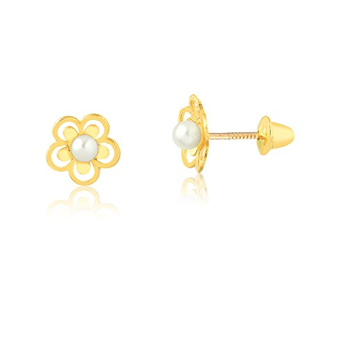 18K Yellow Gold Flower White Freshwater Cultured Pearl Screw Back Safety Stud Earrings for Babies, Girls, and Infants.