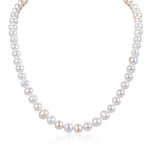 - Natural A Quality Round White Cultured Freshwater Pearl Necklace 18 inch Jewelry for Women Girls Mom Gift PN1-18-78