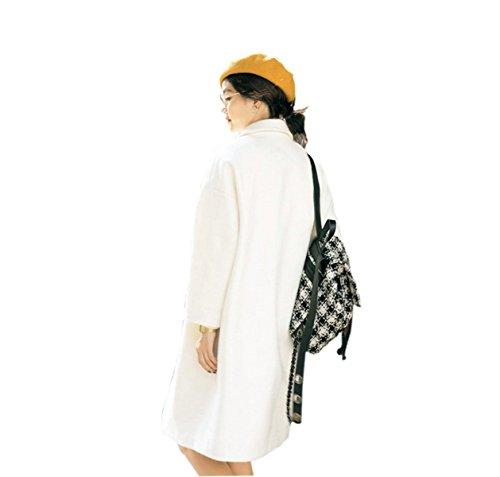 PINGMING Versión Coreana De La Caída Y El Invierno Capullo Grueso De Lana Chaqueta De Abrigo De Las Mujeres Largas Secciones Sueltas Capa De Lana White