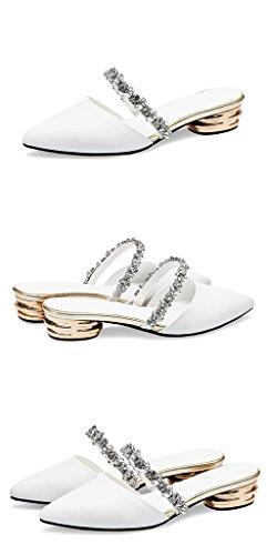 Spitz Weiß größe Hausschuhe Schuhe 39 Damen Sandalen Mode Frau Schuhe Leder ZCJB Flachboden Kristall Baotou Coole Sommer Farbe Halbschuh wwaqpO